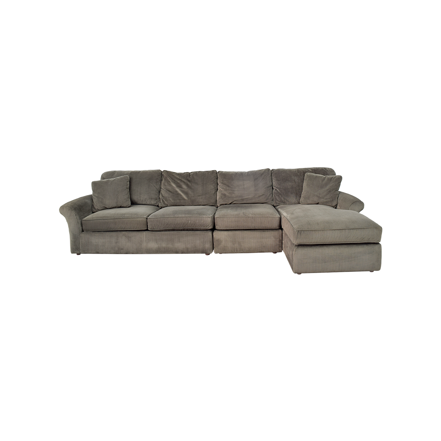 buy Macys Modern Concepts Charcoal Gray Corduroy Chaise Sectional Macys Sectionals