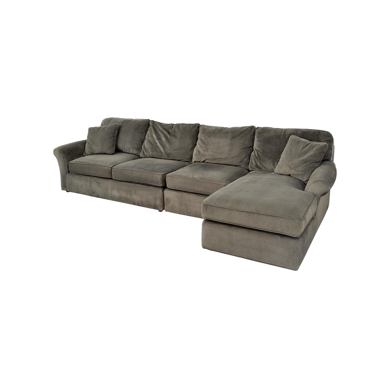 74% OFF   Macyu0027s Macyu0027s Modern Concepts Charcoal Gray Corduroy Chaise  Sectional / Sofas