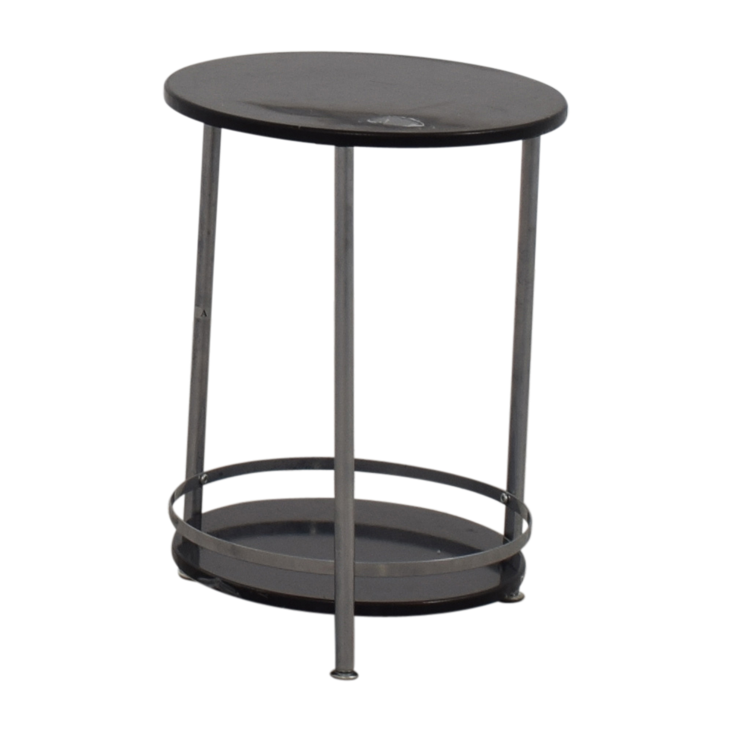 Off round black and chrome end table tables