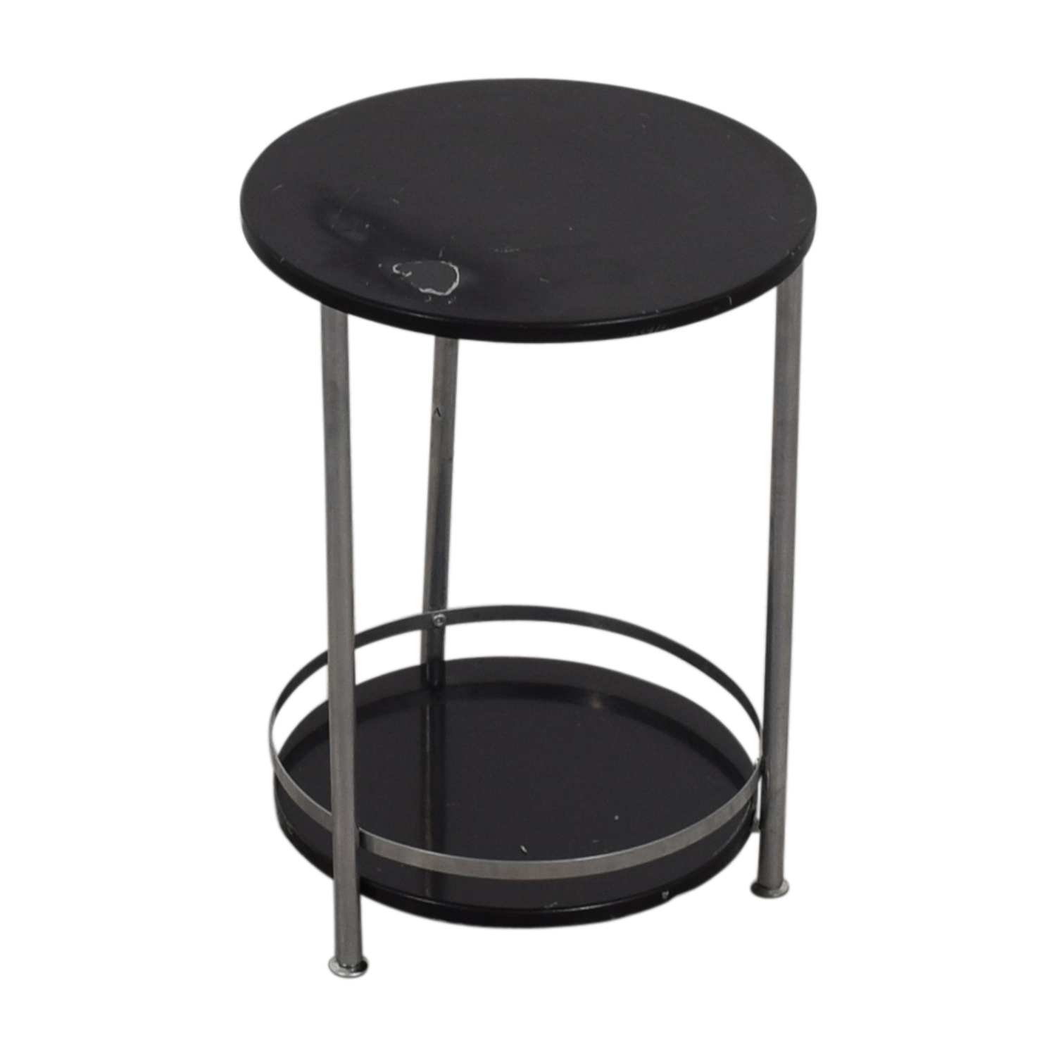 Round Black and Chrome End table dimensions