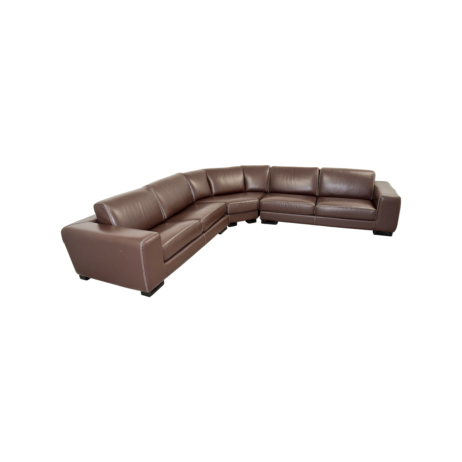 Roche Bobois Brown Leather Sectional Sofa Bed For
