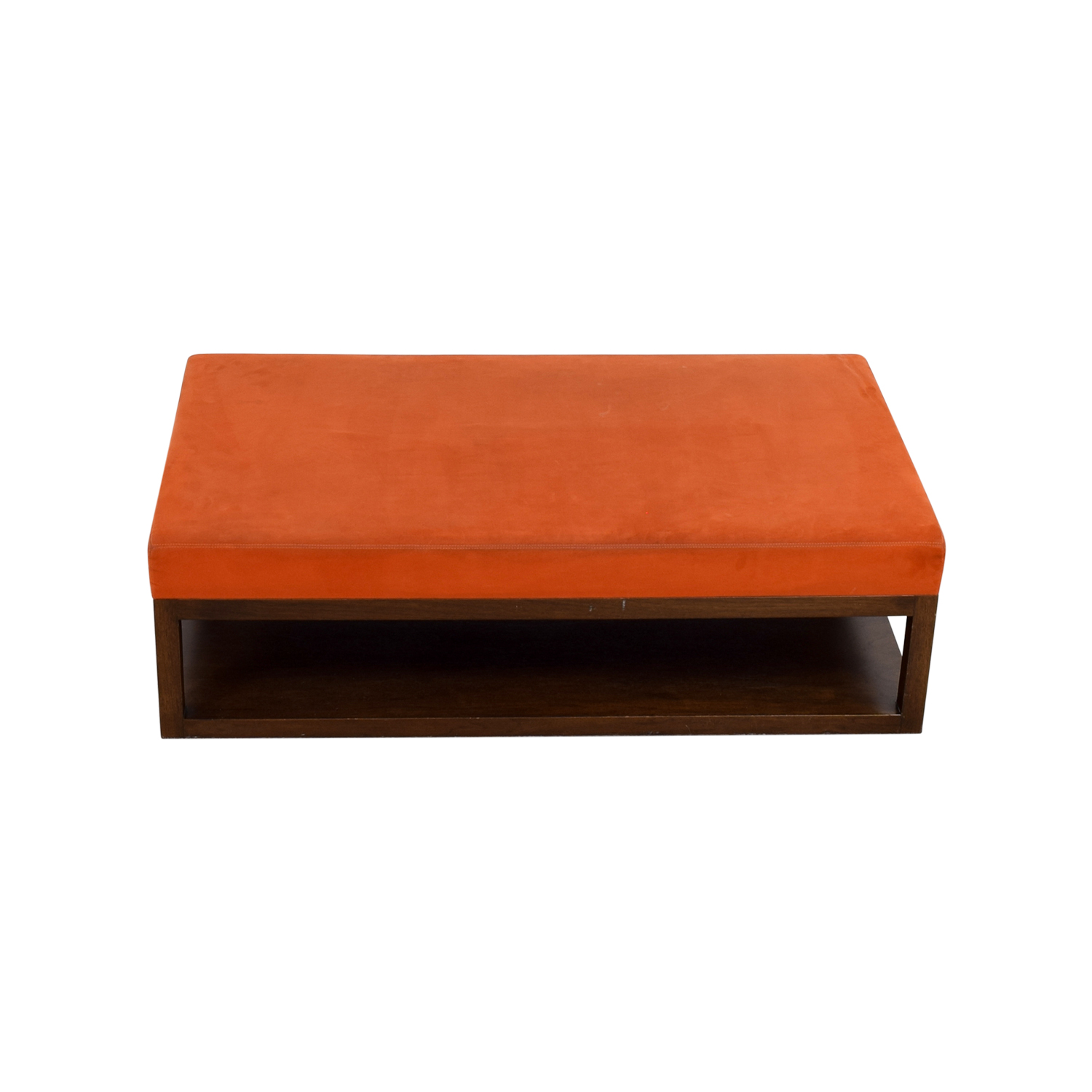 shop Custom Orange Ottoman with Wood Base on Casters Custom made Chairs