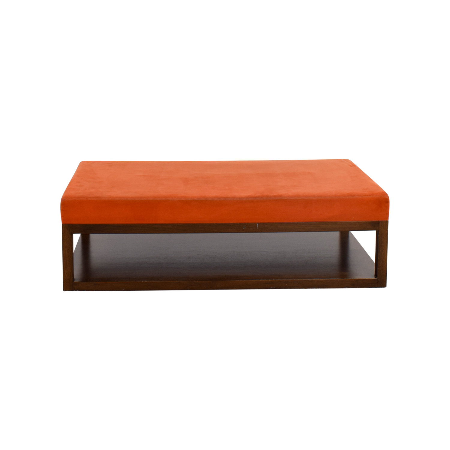 buy Custom made Custom Orange Ottoman with Wood Base on Casters online