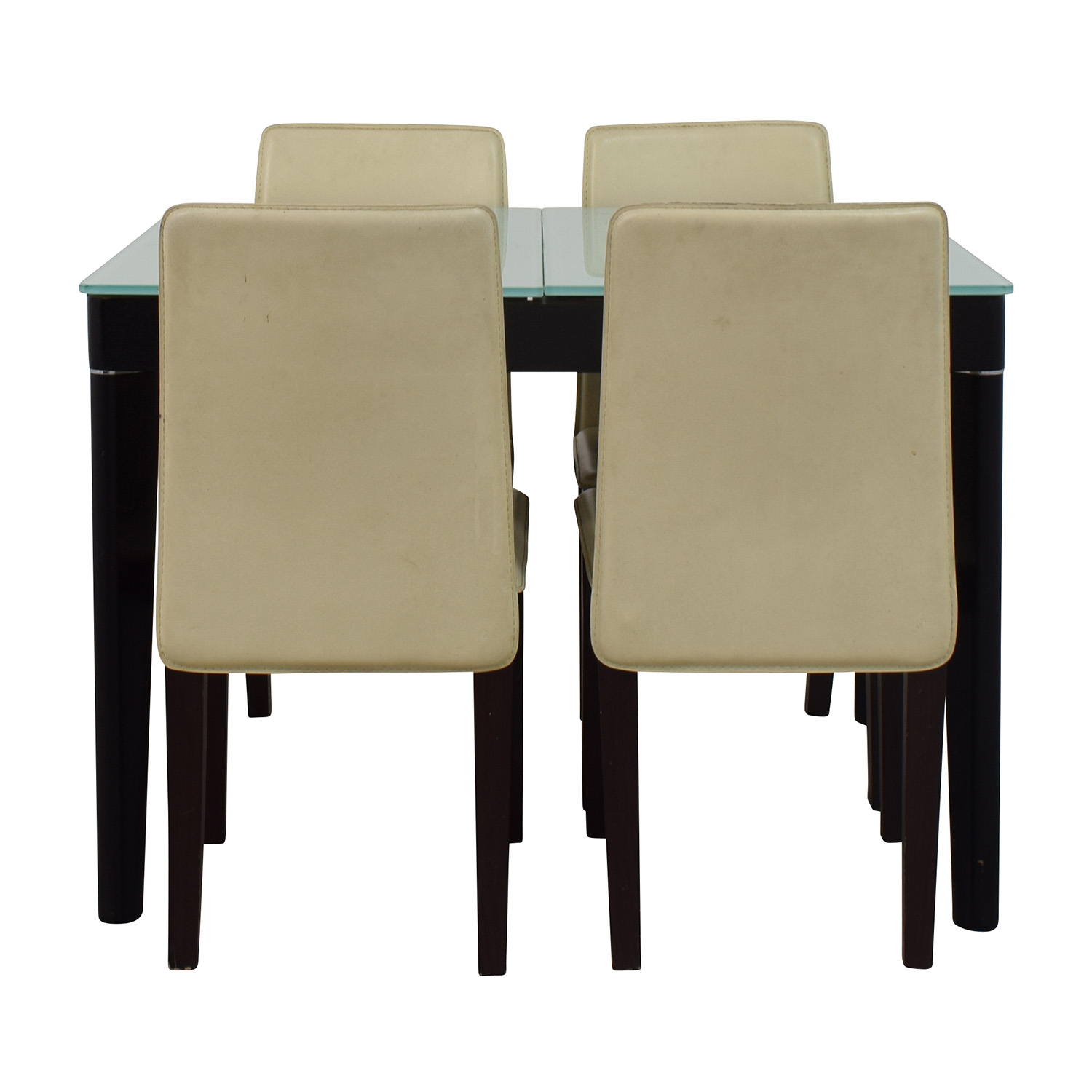 Expandable Glass and Wood Dining Set nj