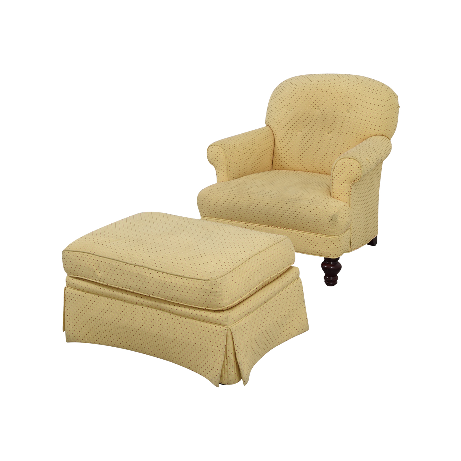 90% OFF - Yellow Arm Chair with Ottoman / Chairs