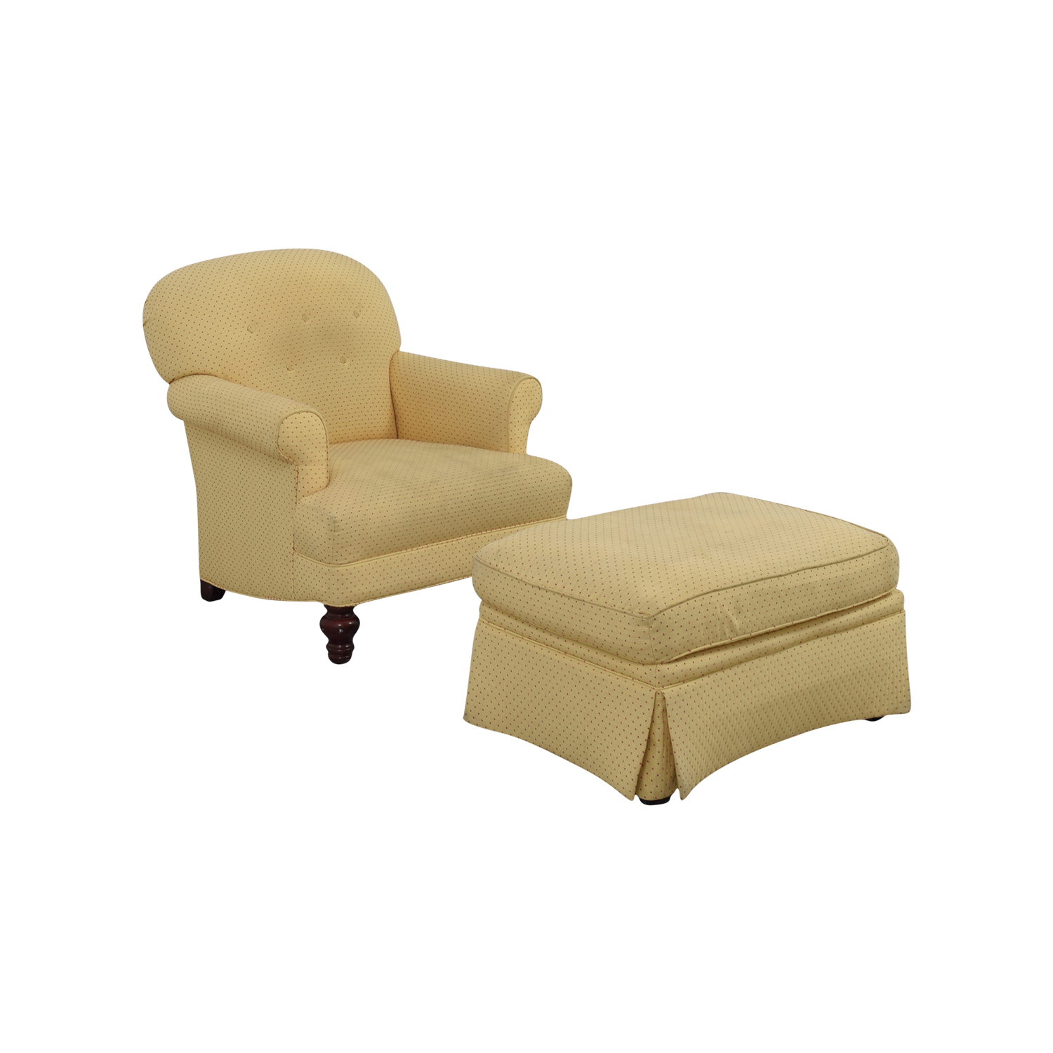 Yellow Arm Chair with Ottoman / Ottomans