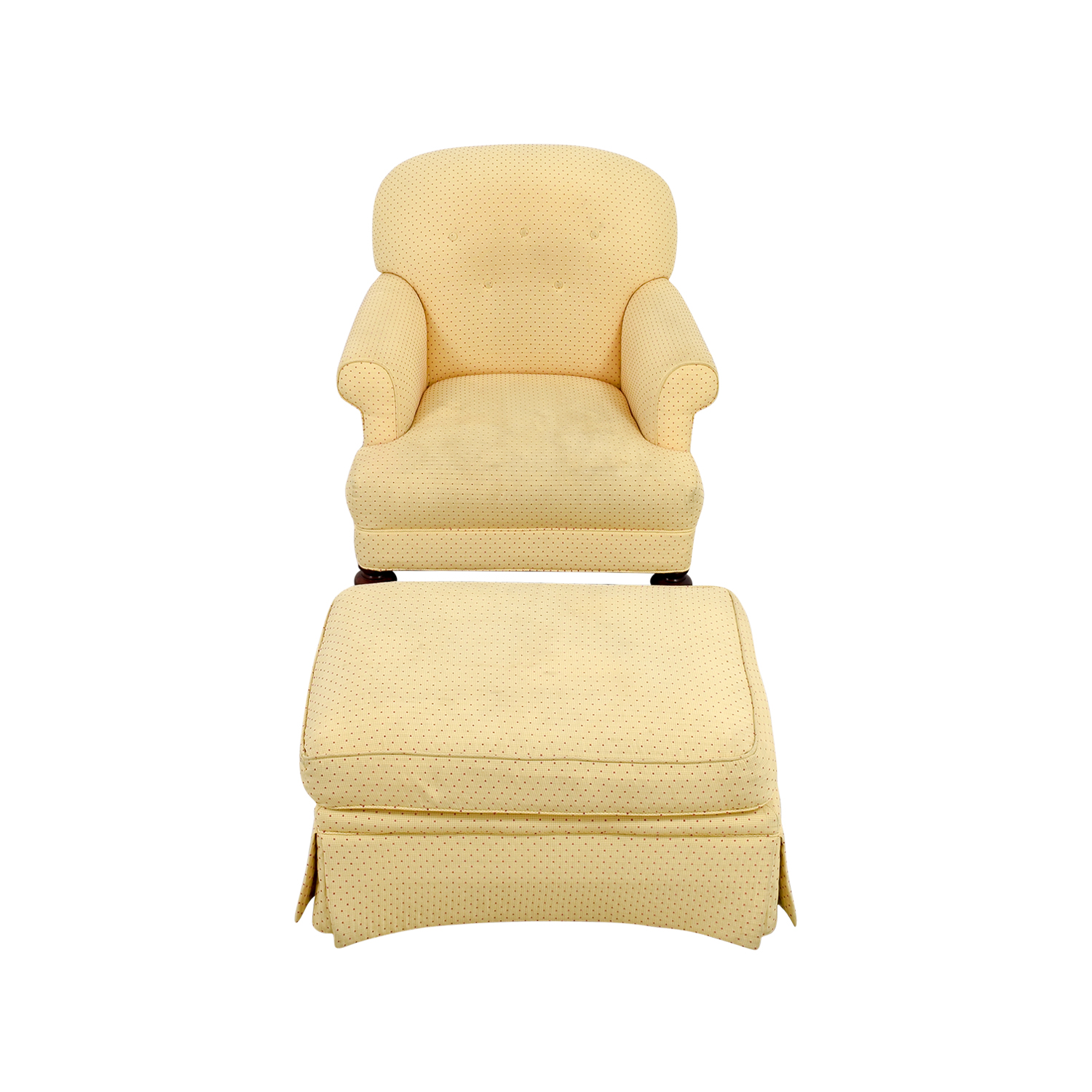 Yellow Arm Chair with Ottoman for sale