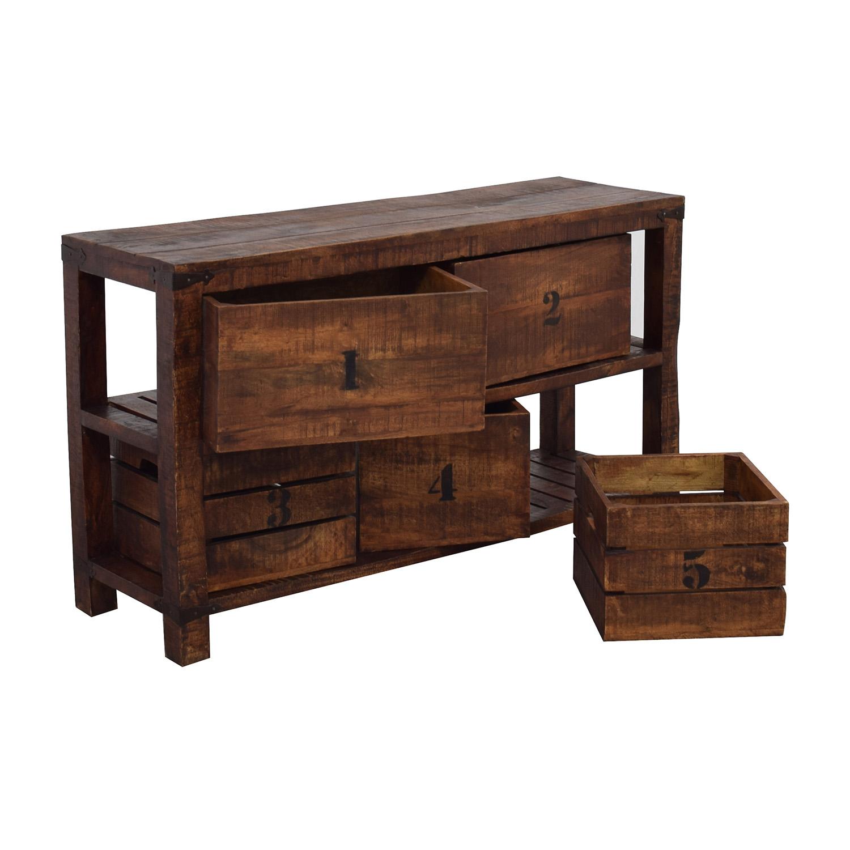 Custom Custom Saw Hewn Teak Credenza Storage Cabinet Brown