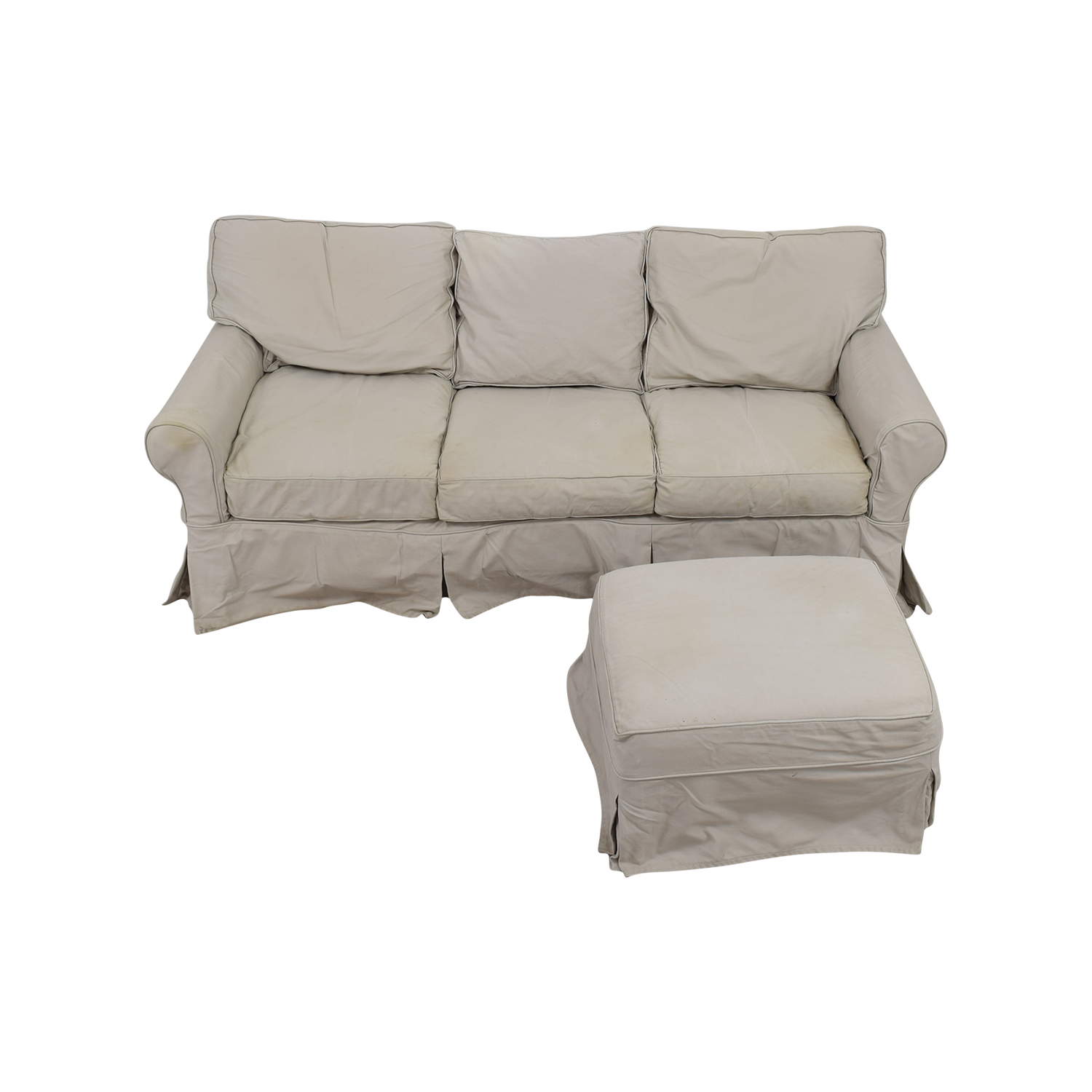Pottery Barn Basic Slipcovered Sofa and Ottoman sale
