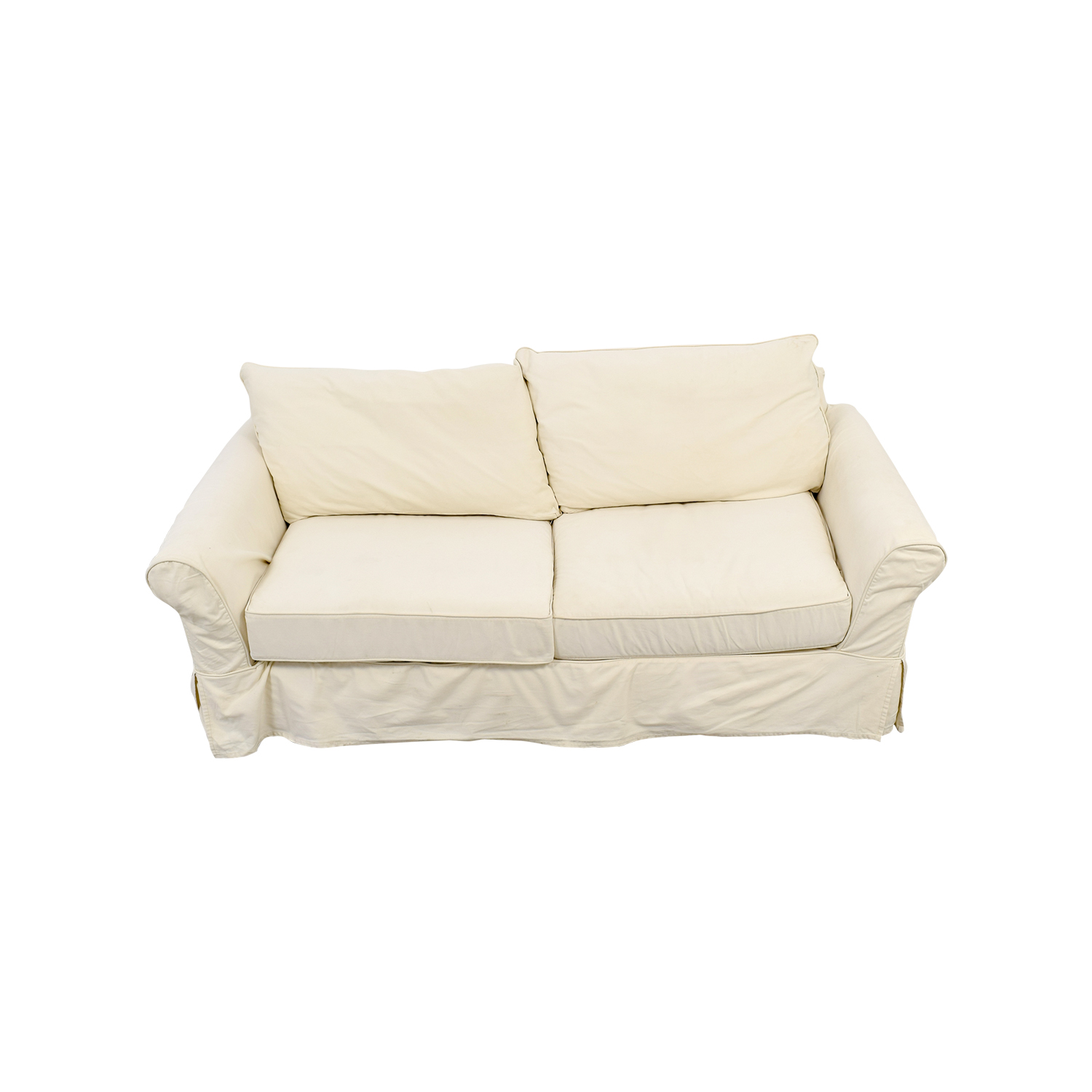 Pottery Barn Pottery Barn White Comfort Slip Covered Sofa for sale