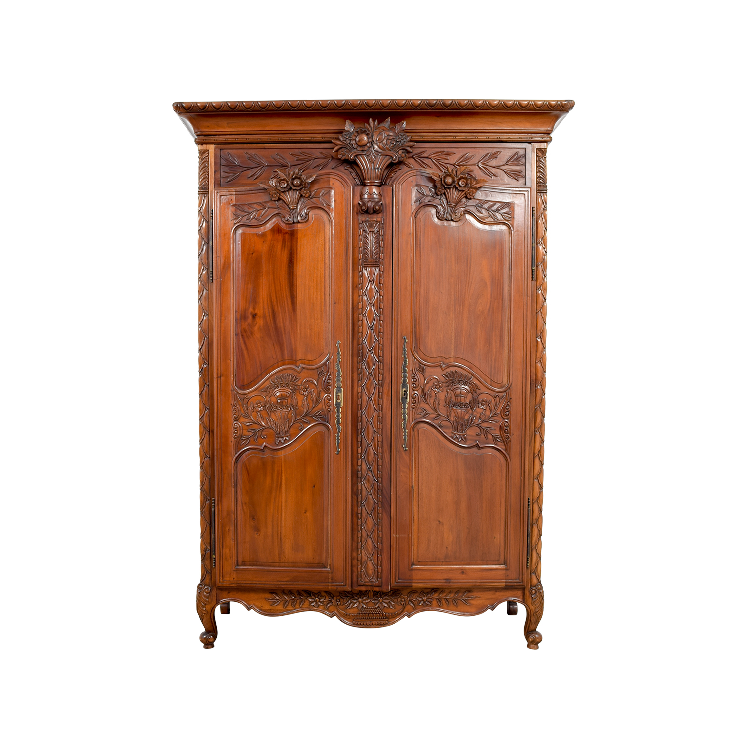 Bali Carved Wood Armoire Storage
