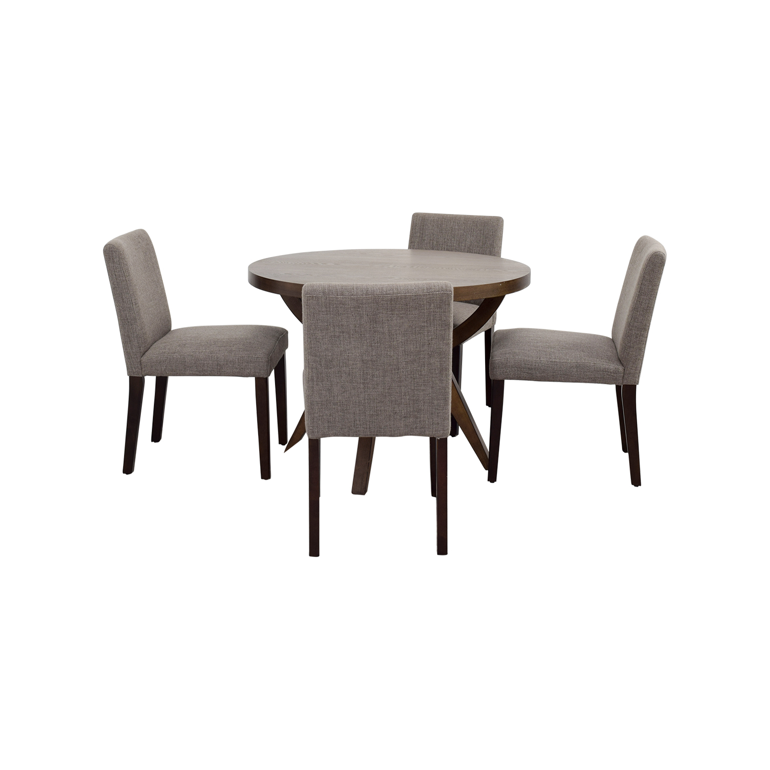 51 off west elm west elm arc base pedestal table and for Pedestal dining table and chairs
