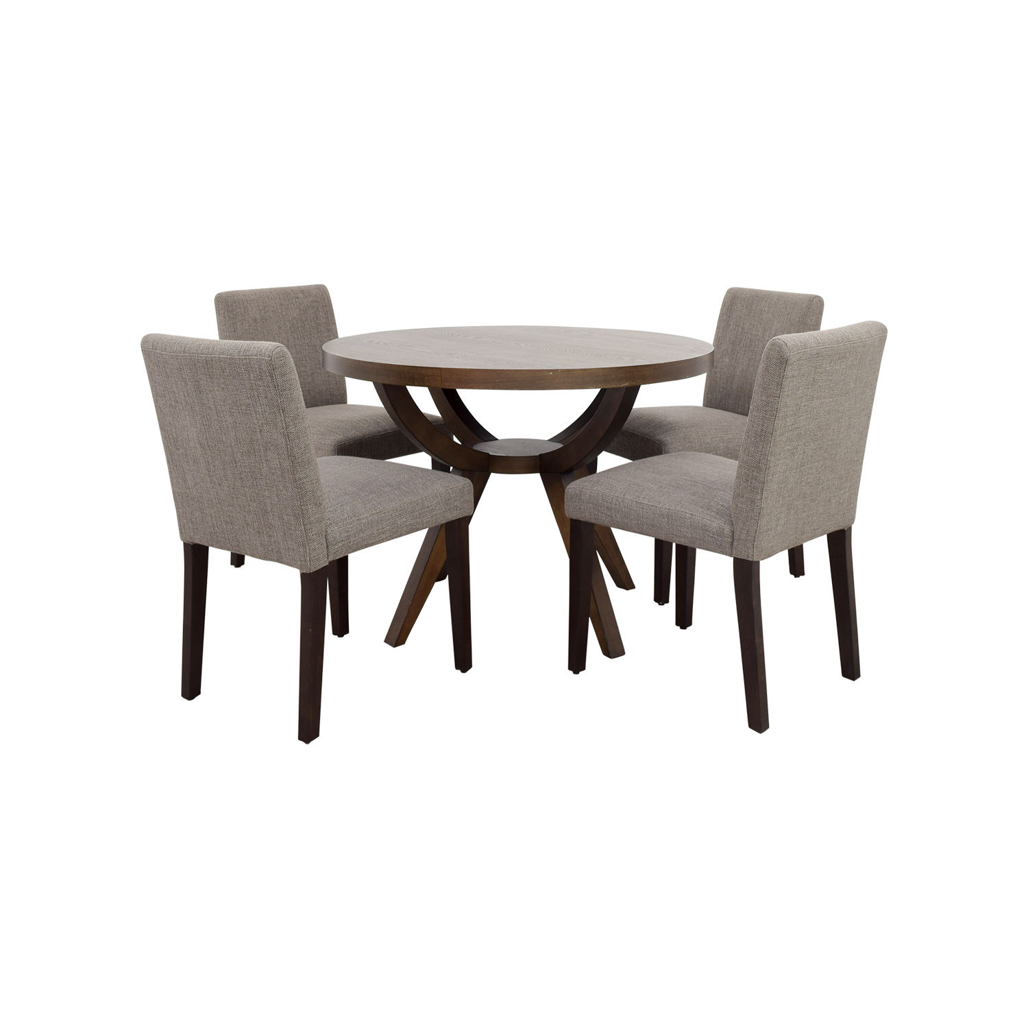 West Elm West Elm Arc Base Pedestal Table and Chairs brown and gray