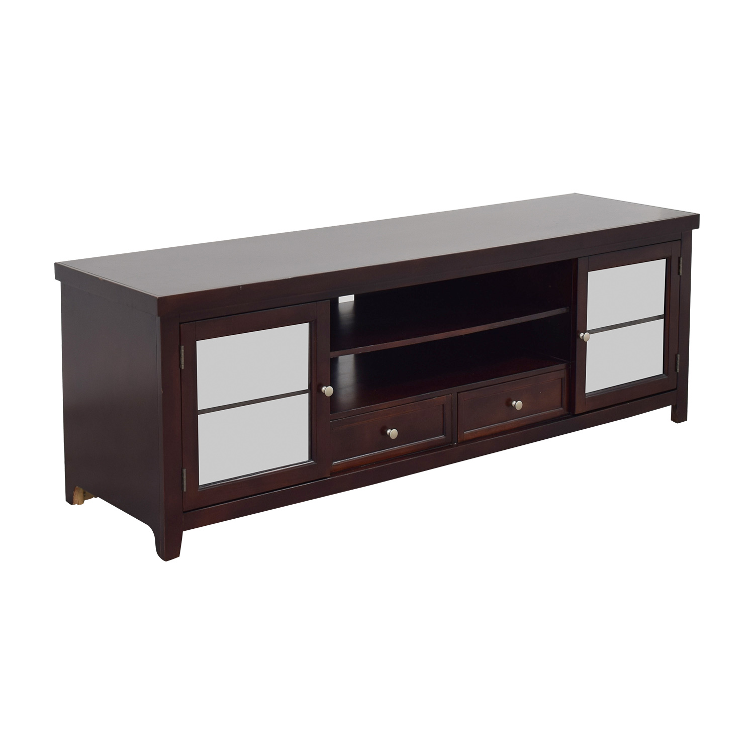 39% OFF Living Spaces Living Spaces Wood and Glass TV Stand