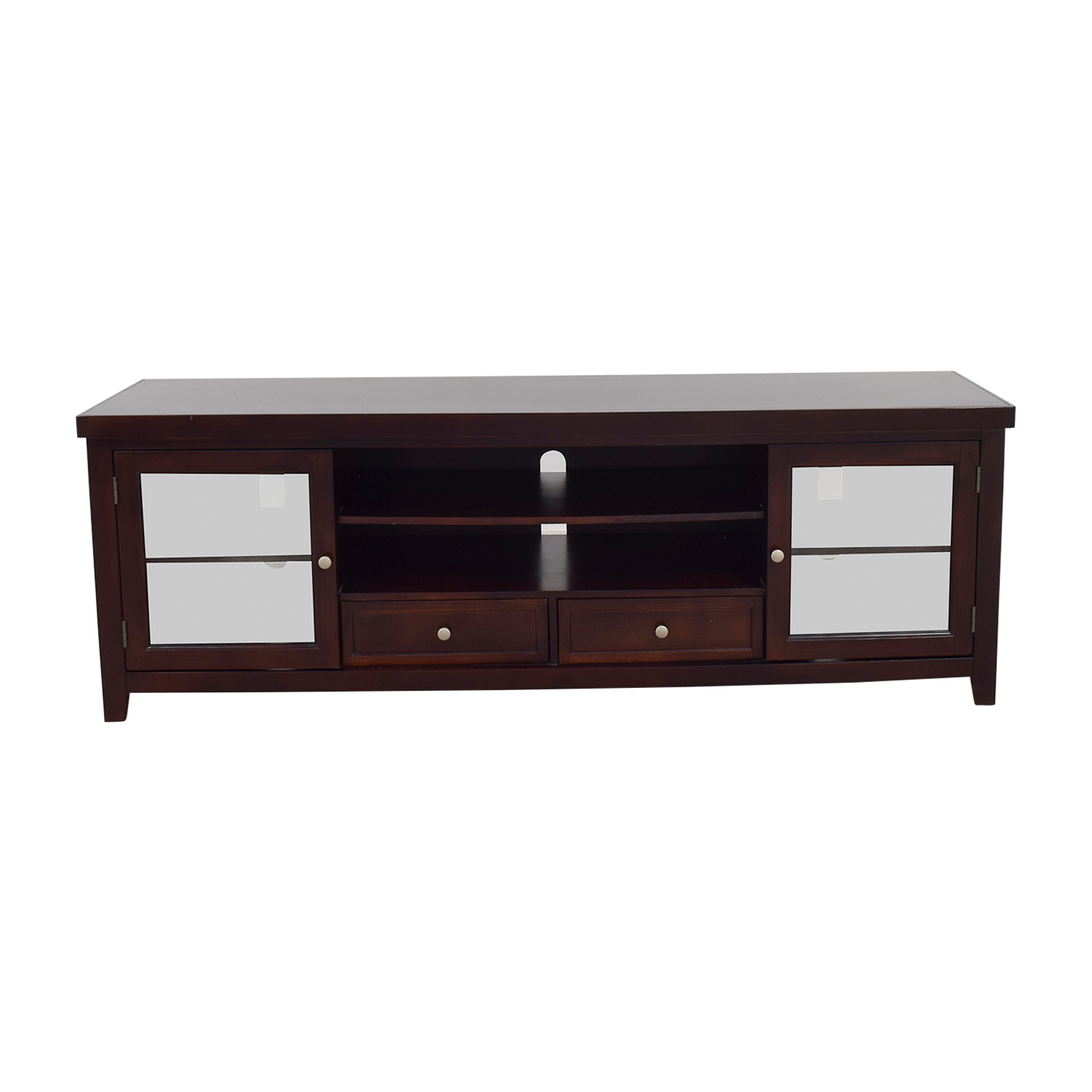 Living Spaces Living Spaces Wood and Glass TV Stand brown