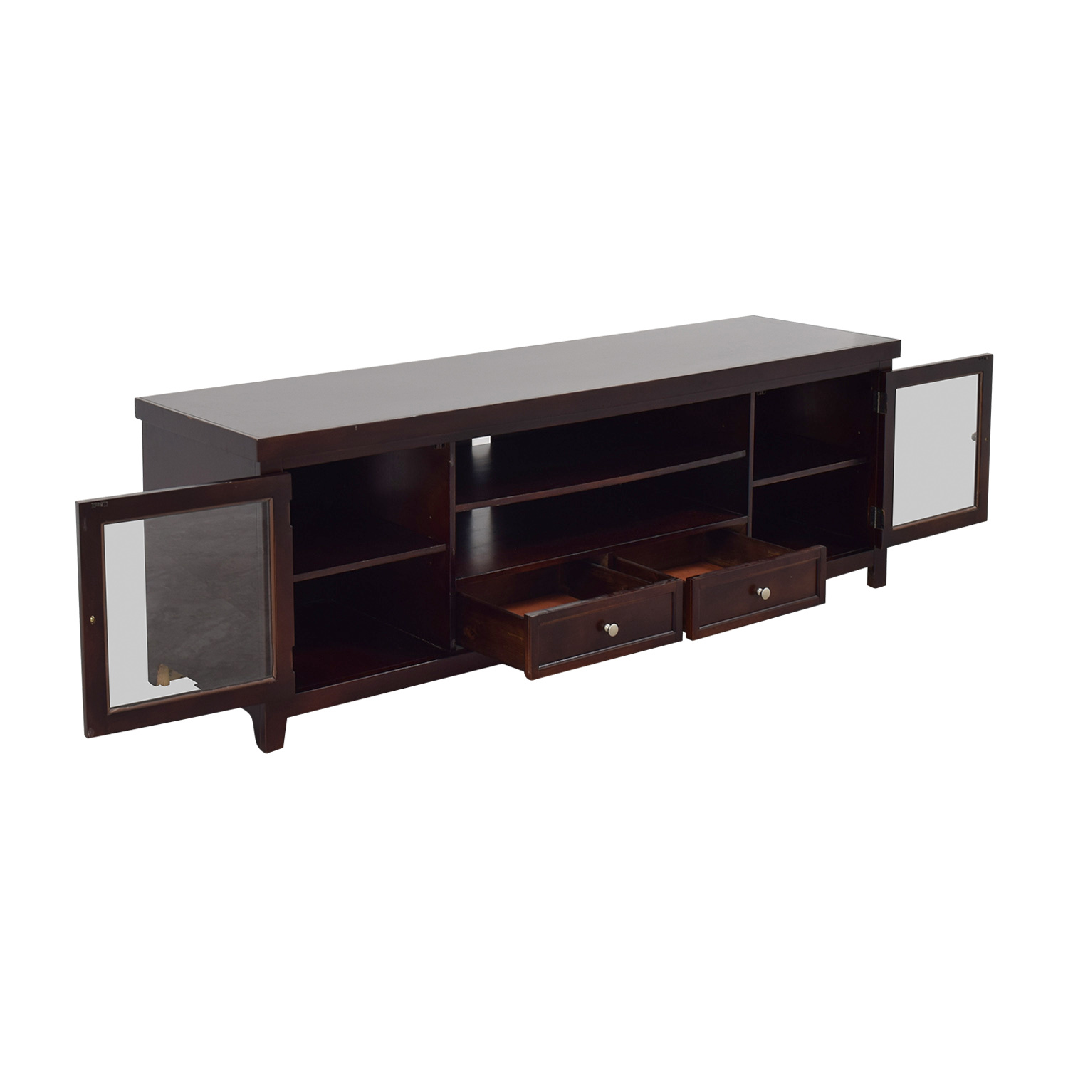 90 off living spaces living spaces wood and glass tv stand storage. Black Bedroom Furniture Sets. Home Design Ideas