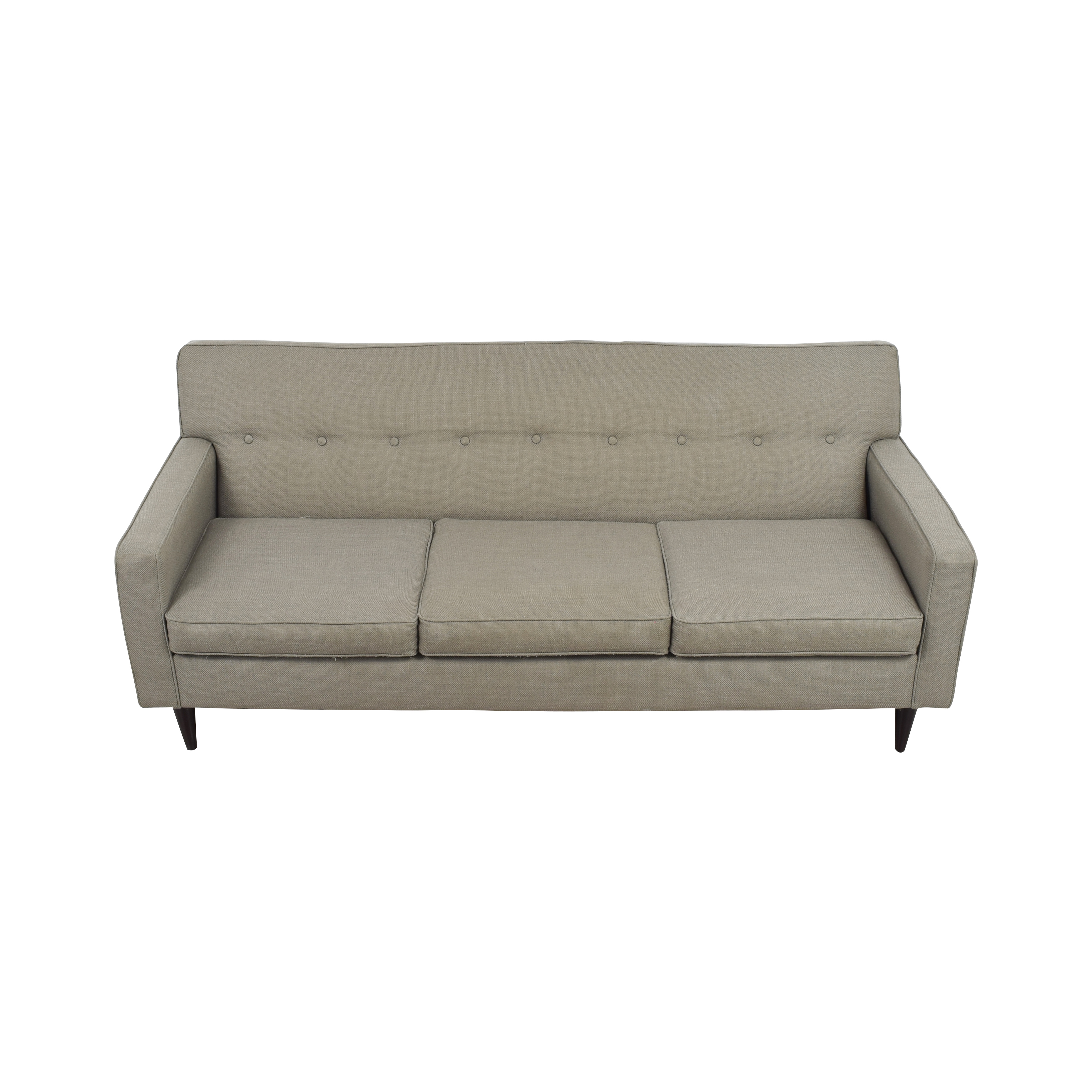 Macys Macys Grey Tufted Three-Cushion Couch second hand