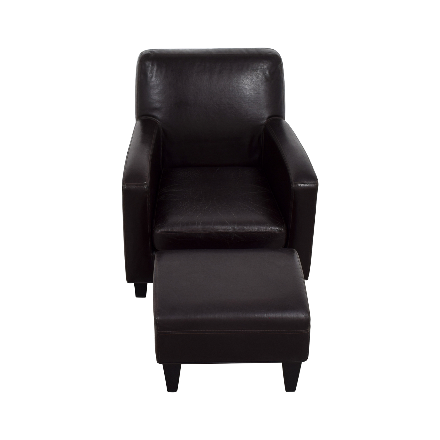 buy IKEA Bonded Brown Leather Chair and Ottoman IKEA Accent Chairs