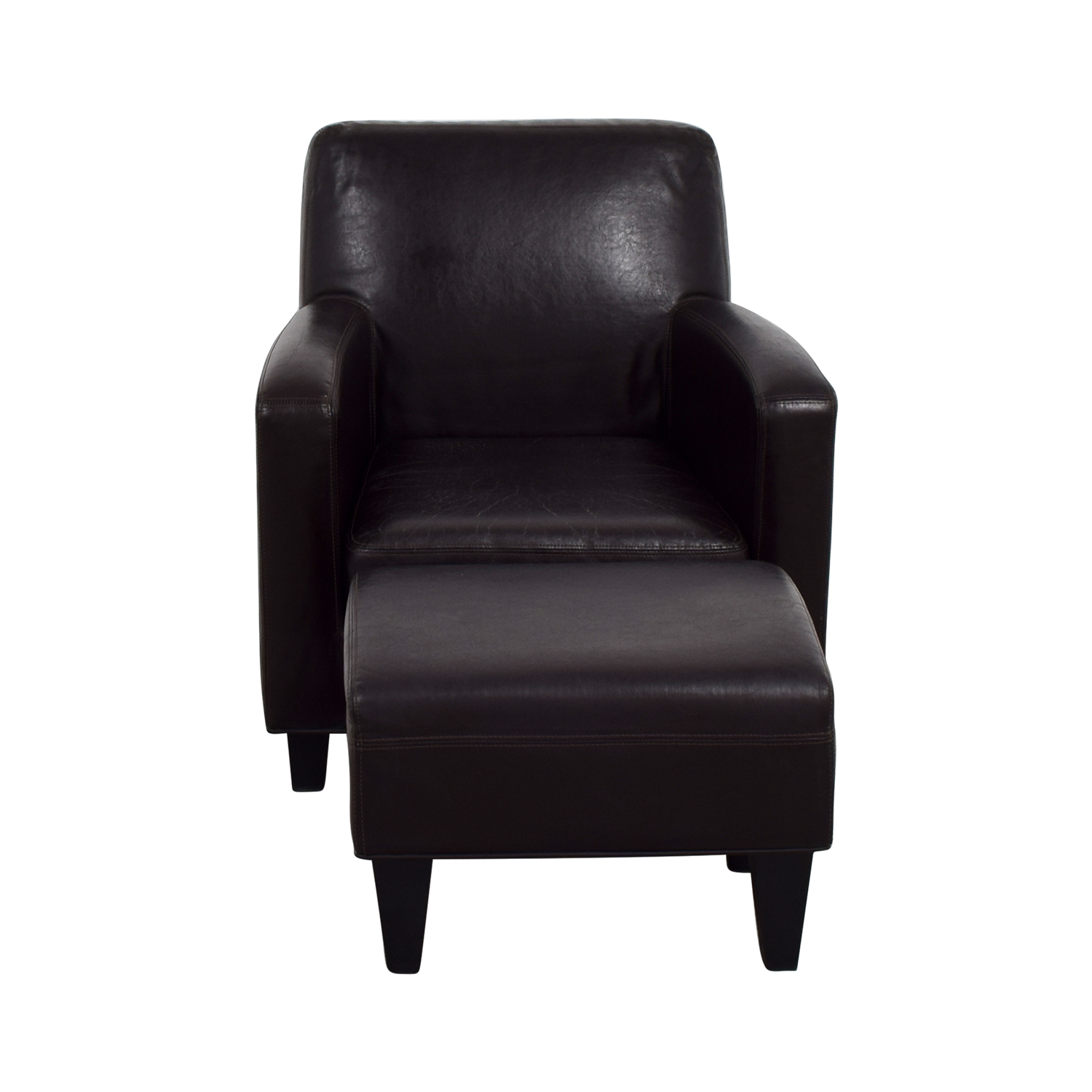 Beau IKEA IKEA Bonded Brown Leather Chair And Ottoman On Sale ...