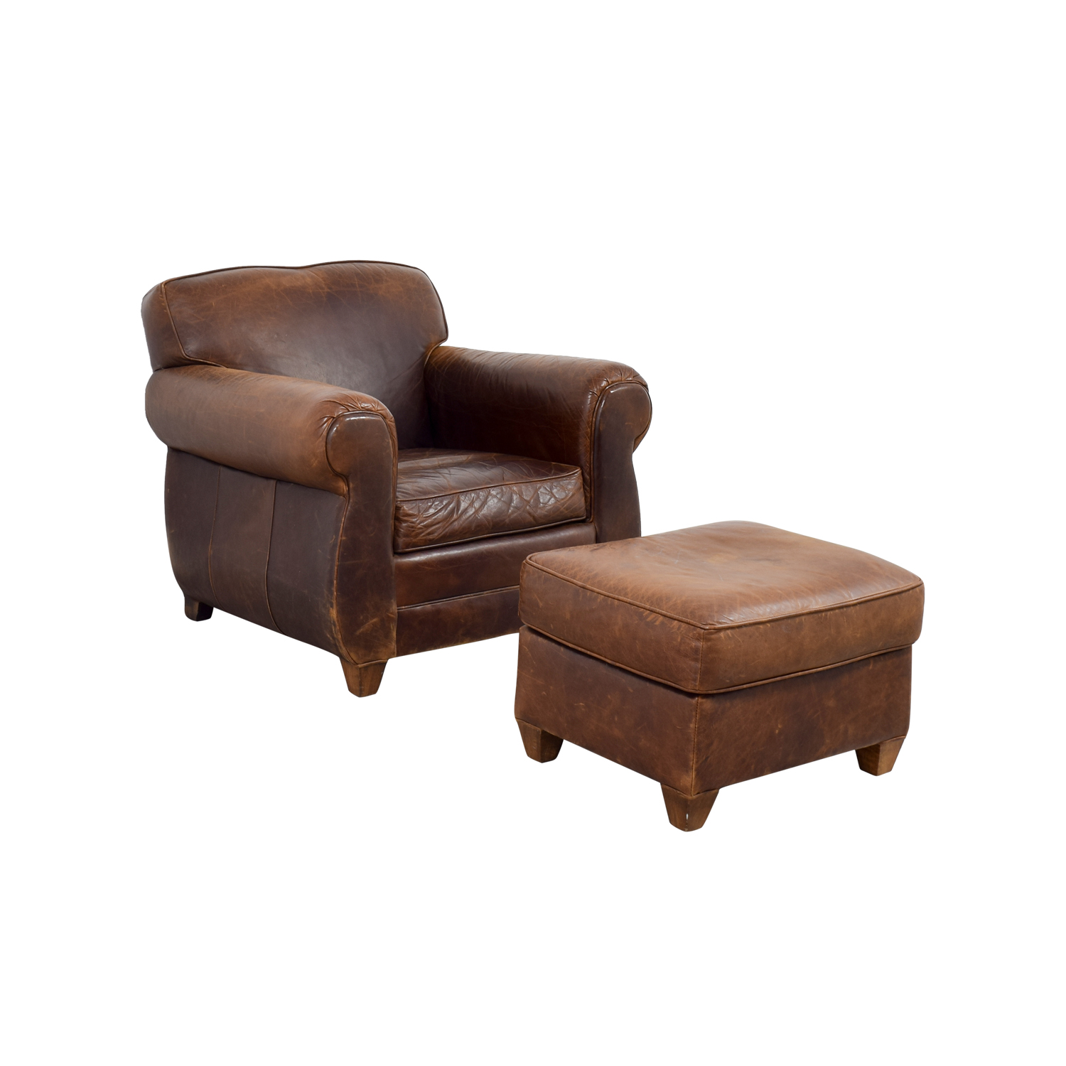 Terrific 64 Off Restoration Hardware Restoration Hardware 1940S Moustache Leather Chair And Ottoman Chairs Ocoug Best Dining Table And Chair Ideas Images Ocougorg