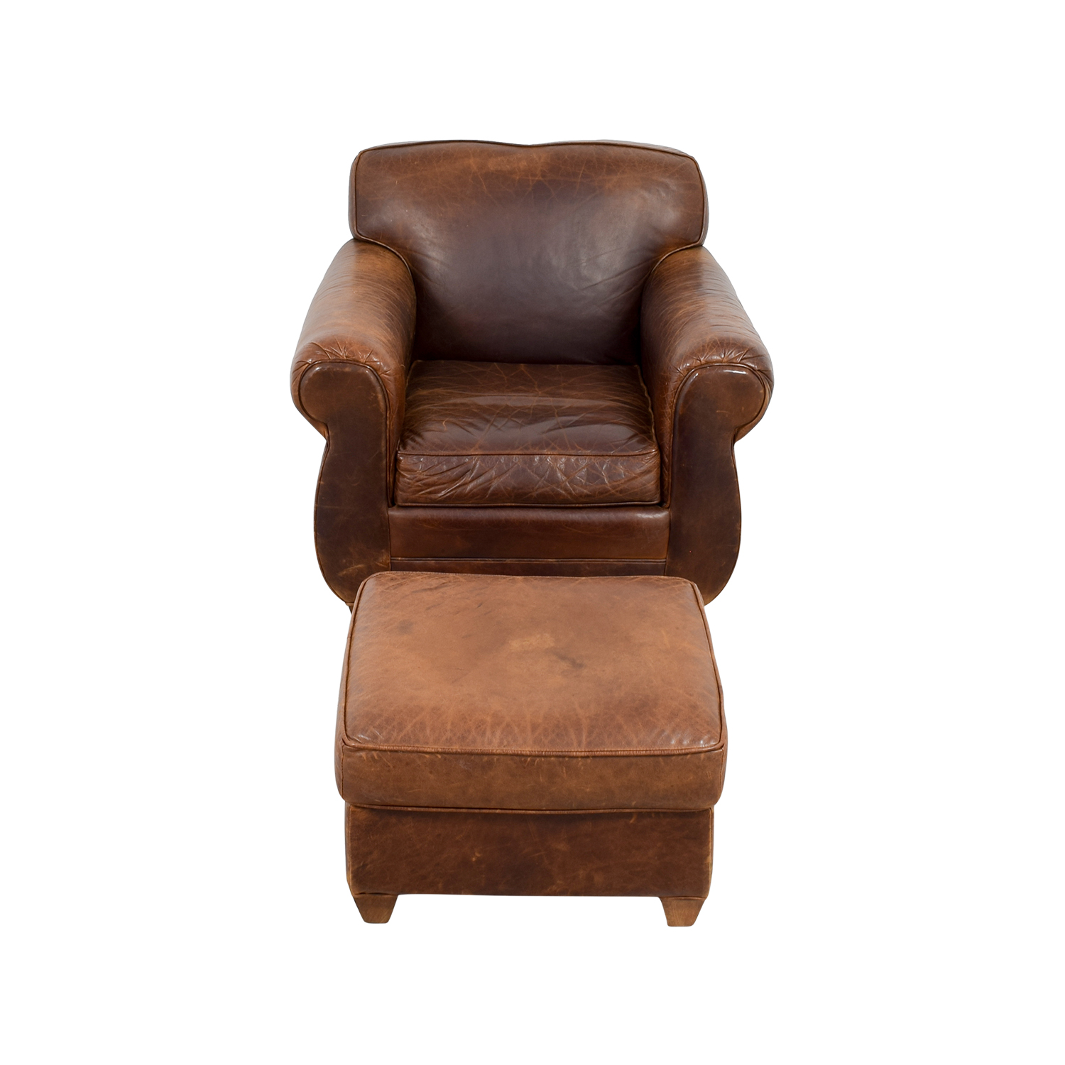 shop Restoration Hardware 1940s Moustache Leather Chair and Ottoman Restoration Hardware Chairs