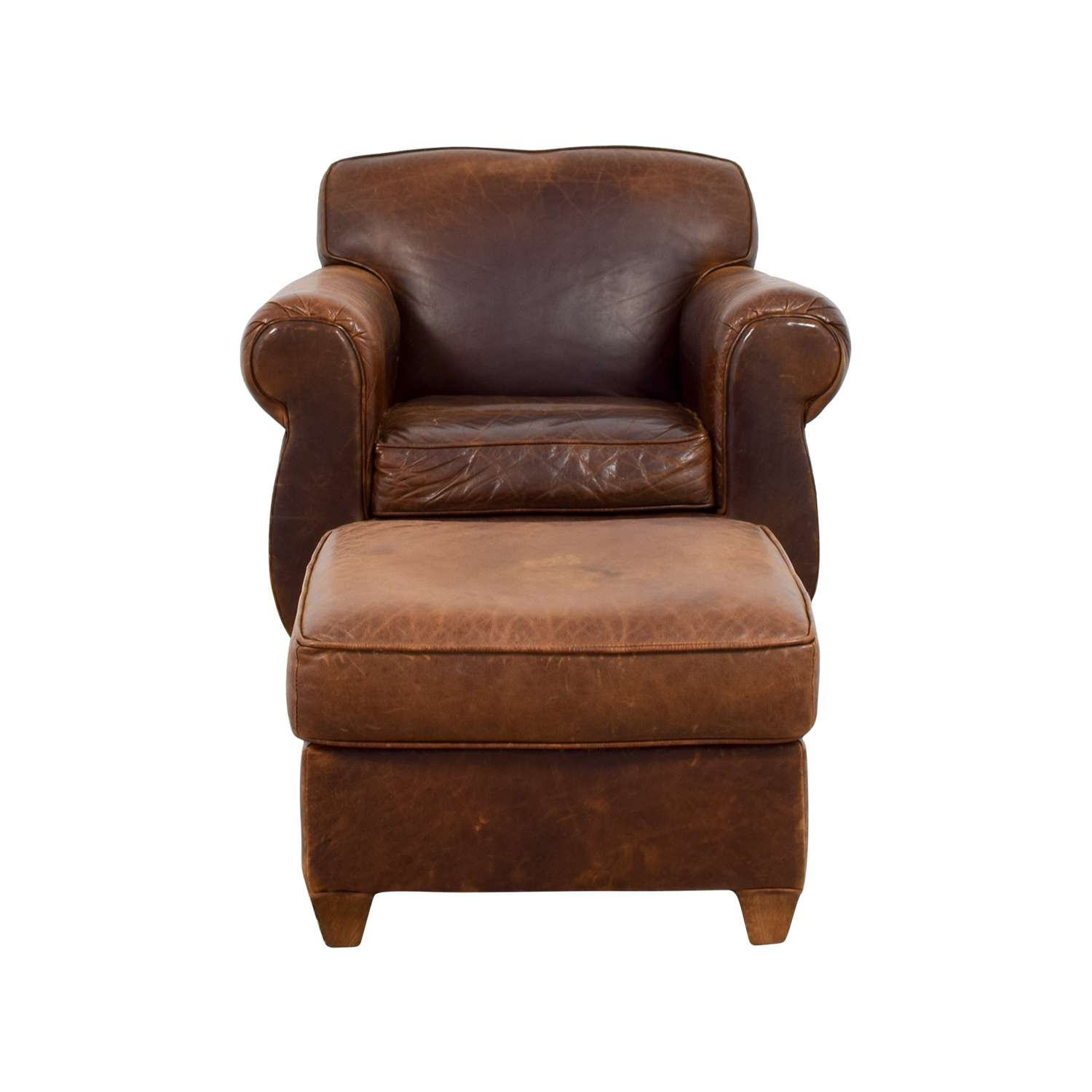 90% OFF Dark Brown Leather and Sage Green Ottoman Chairs