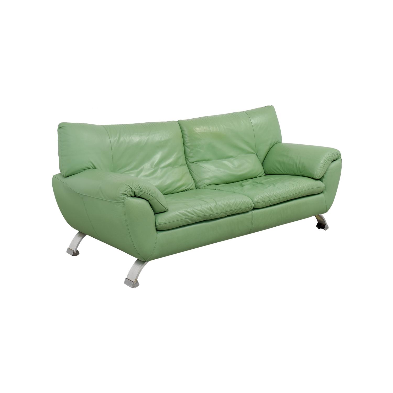 67% OFF Nicoletti Nicoletti Green Leather Sofa Sofas