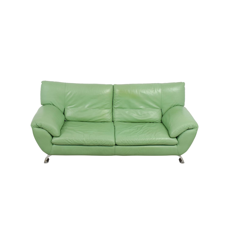 Nicoletti Nicoletti Green Leather Sofa for sale