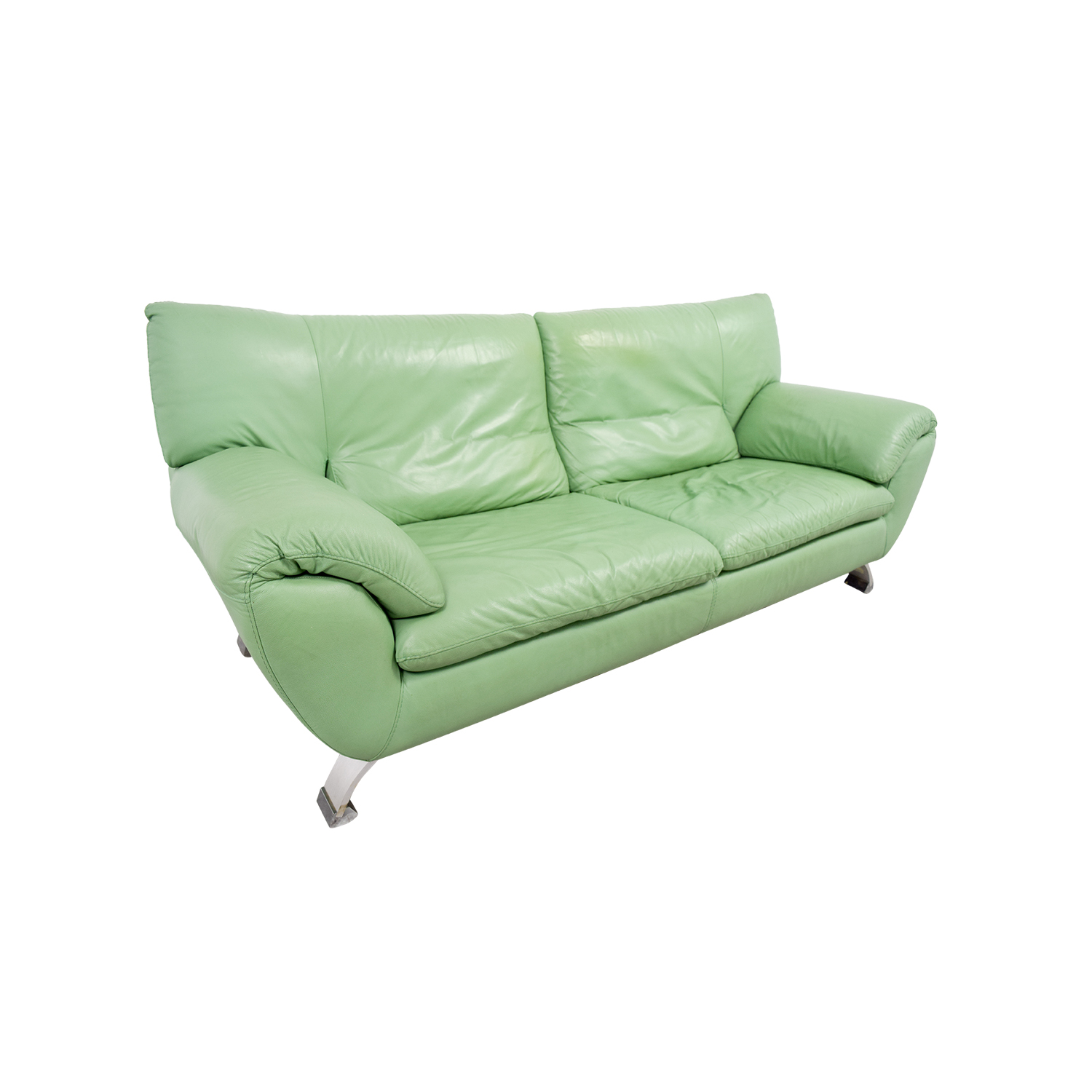 67 Off Nicoletti Home Nicoletti Green Leather Sofa Sofas