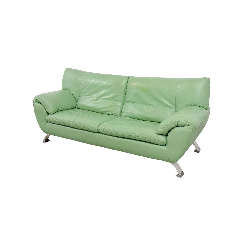 67% OFF - Nicoletti Home Nicoletti Green Leather Sofa / Sofas