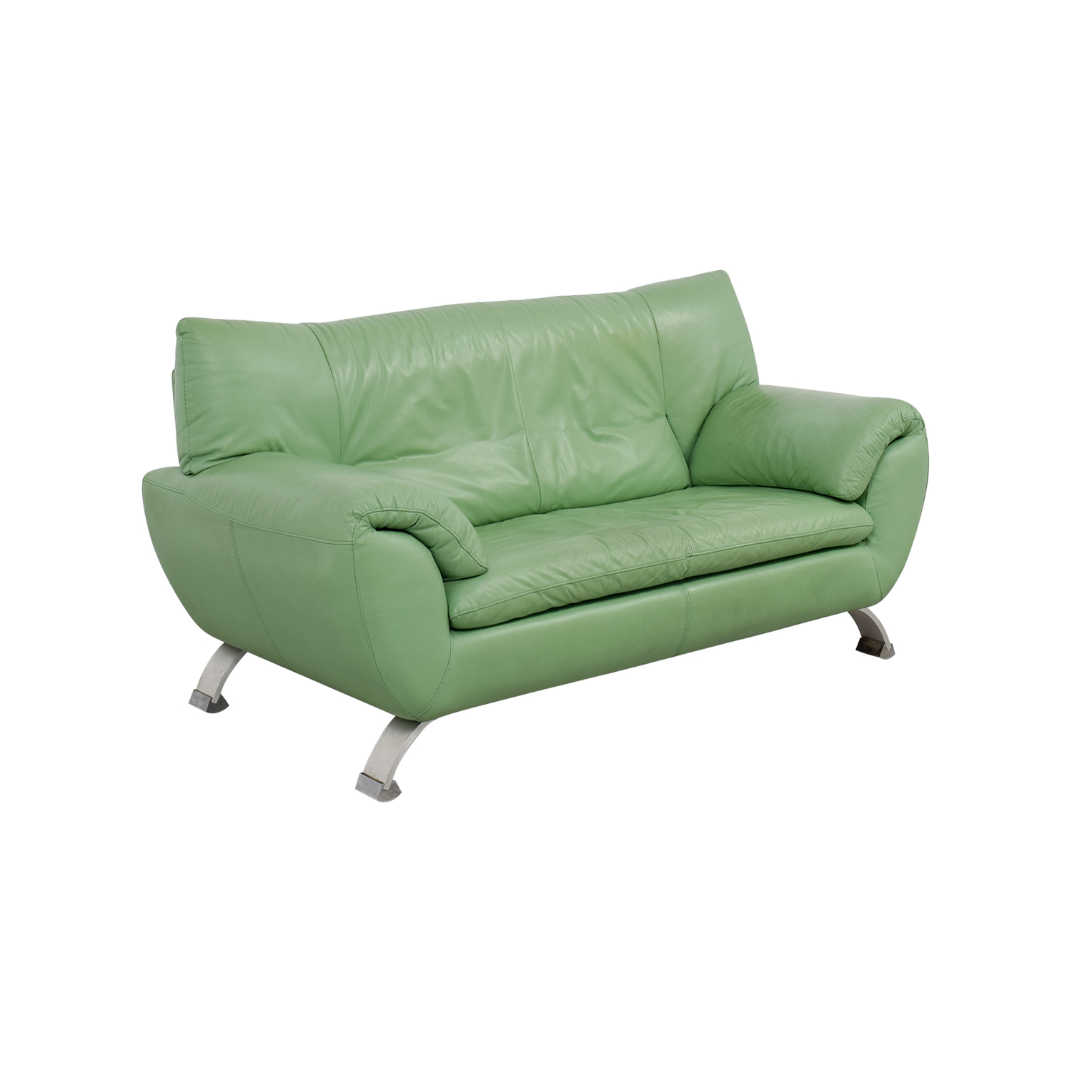 74 off nicoletti nicoletti leather green sofa sofas. Black Bedroom Furniture Sets. Home Design Ideas