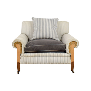 Plush Oversized Chair in Blue French Linen Stripe price