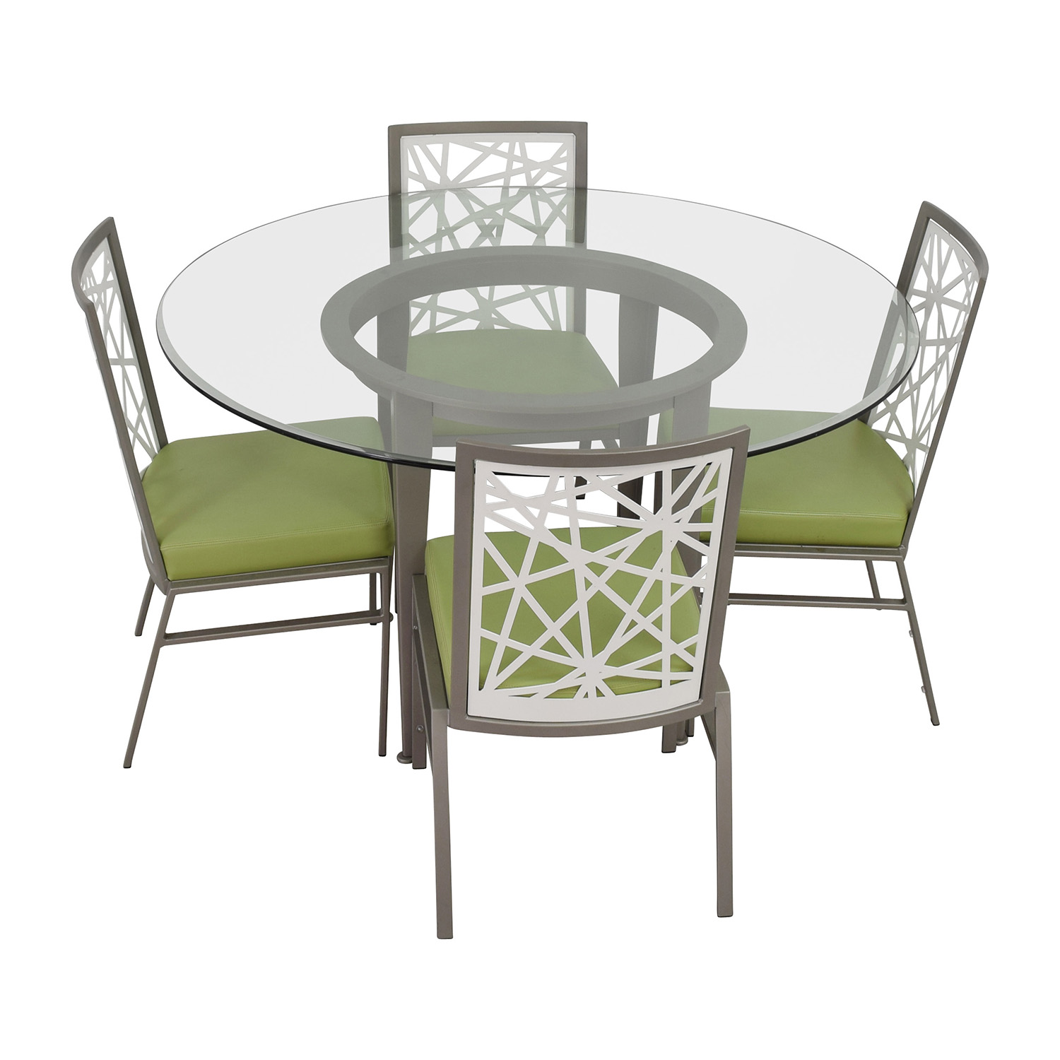 shop BiF Furniture Silver and Green Modern Dining Set BiF Furniture Dining Sets