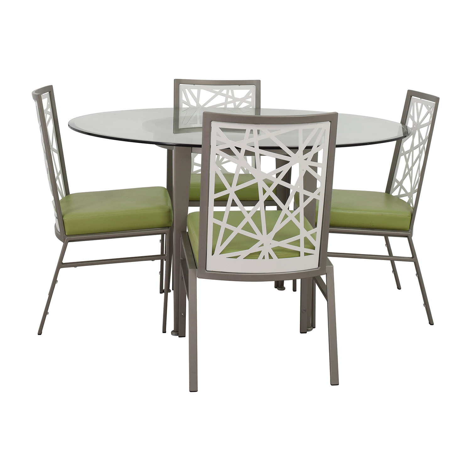Bif Furniture Silver And Green Modern Dining Set For