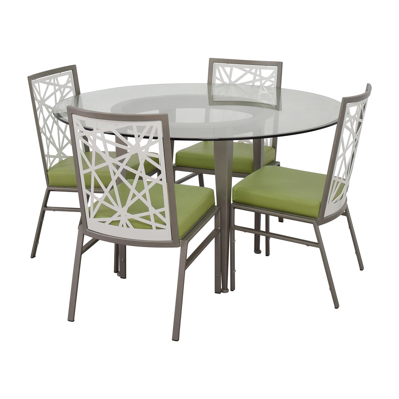 shop BiF Furniture Silver and Green Modern Dining Set BiF Furniture Dining Sets