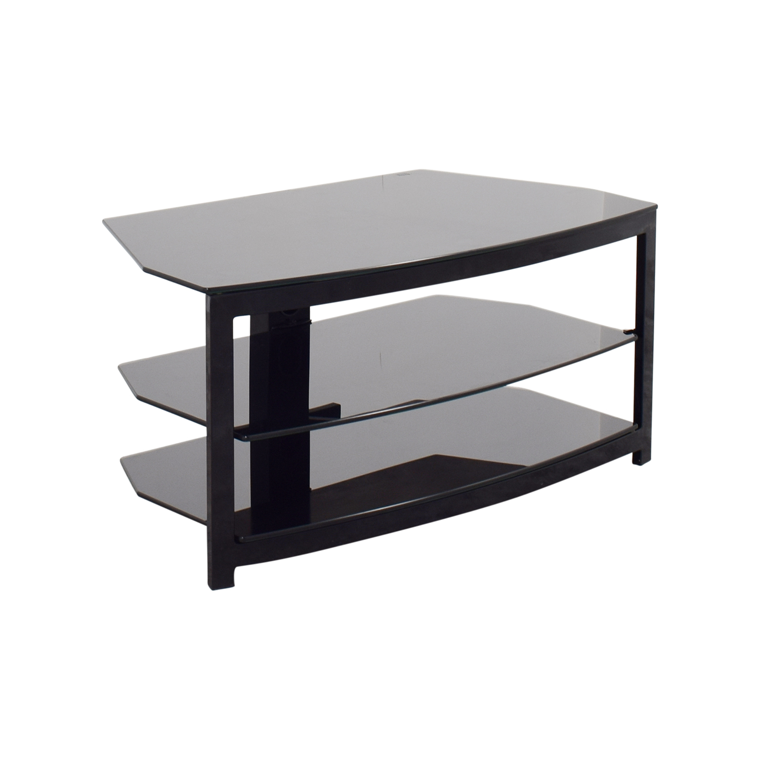 75 Off Black Glass Tv Stand Storage