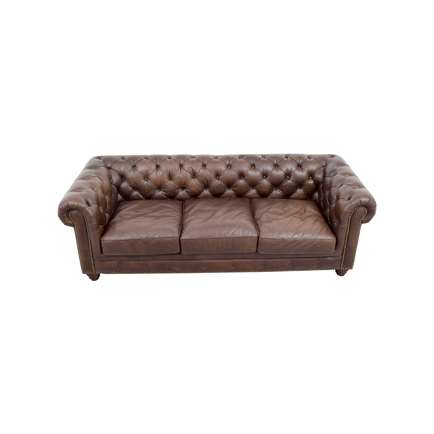 shop Raymour & Flanigan Bellanest Saddler Tufted Leather Sofa Raymour & Flanigan Classic Sofas