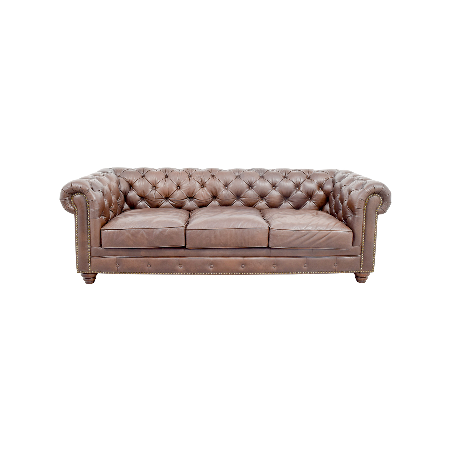 36% OFF - Raymour & Flanigan Raymour & Flanigan Bellanest Saddler Tufted  Leather Sofa / Sofas