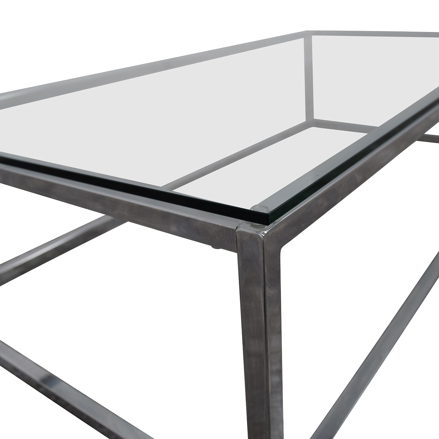 62% OFF CB2 CB2 Smart Chrome and Glass Coffee Table Tables