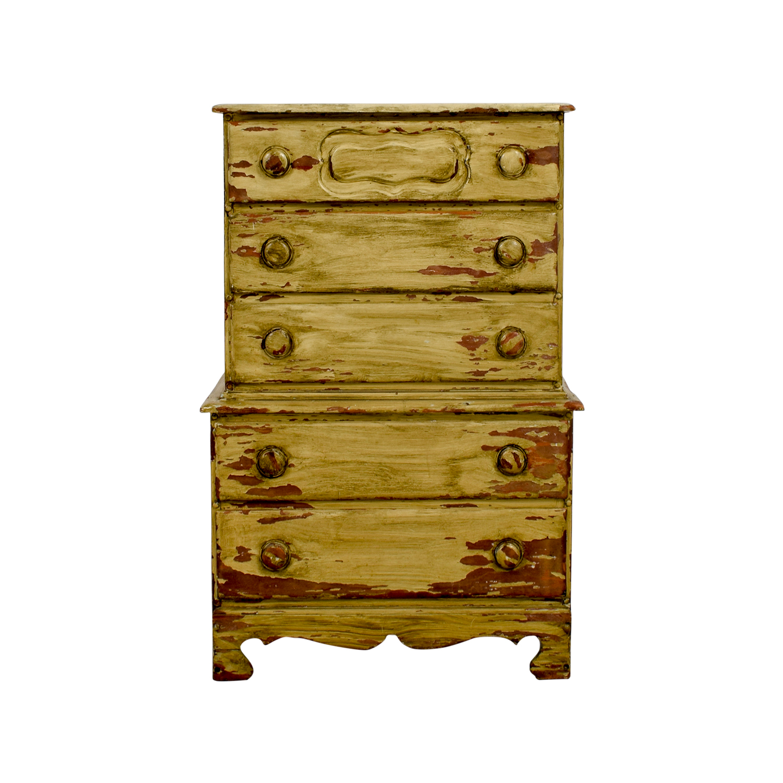 buy Rustic Painted Five-Drawer Dresser Storage