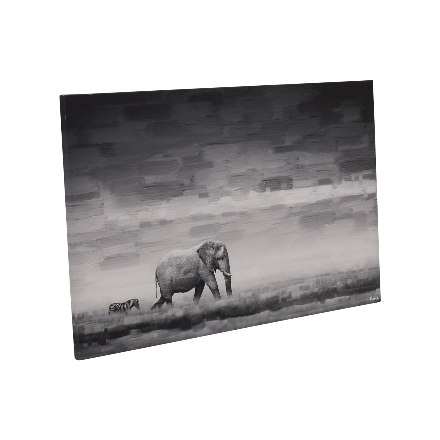 shop Parvez Taj Elephant Painting Print on Reclaimed Wood Canvas Picture