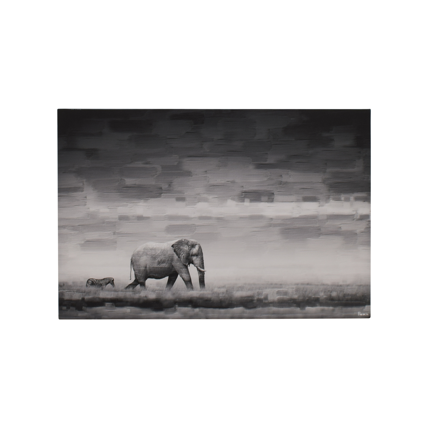 buy Parvez Taj Elephant Painting Print on Reclaimed Wood Canvas Picture Decor