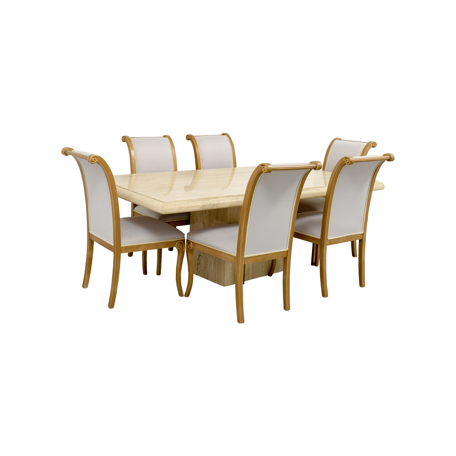 66% OFF Marble Dining Table with Six Chairs Tables
