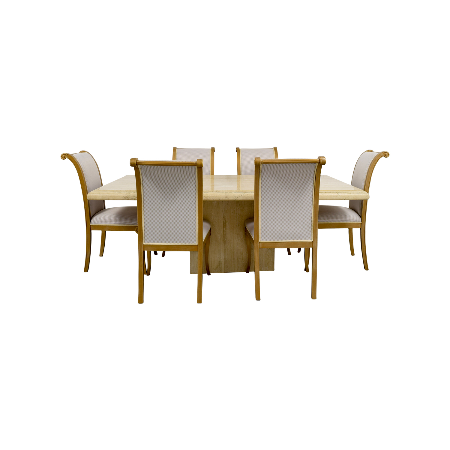 Marble Dining Table with Six Chairs used