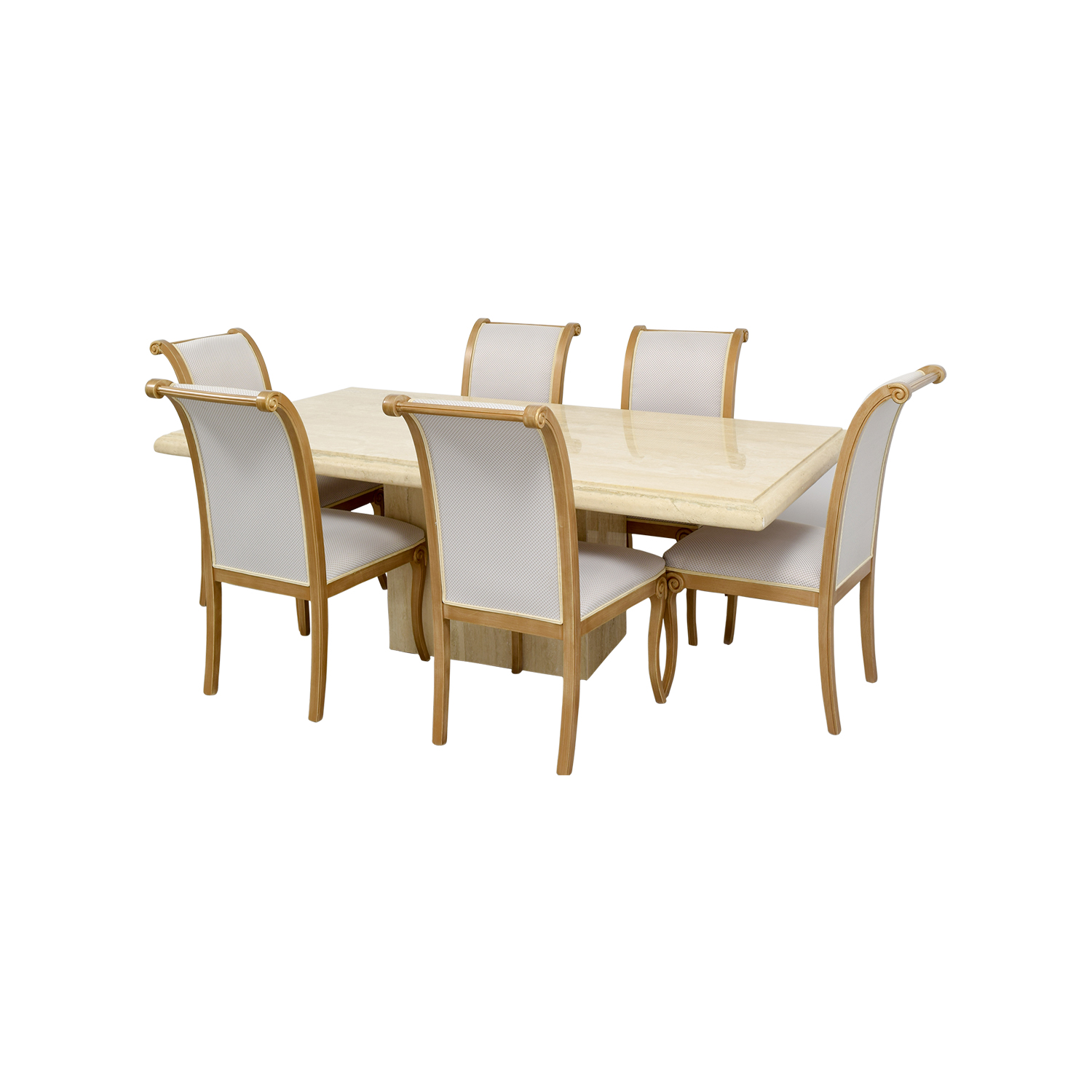 OFF Marble Dining Table With Six Chairs Tables - Used marble dining table