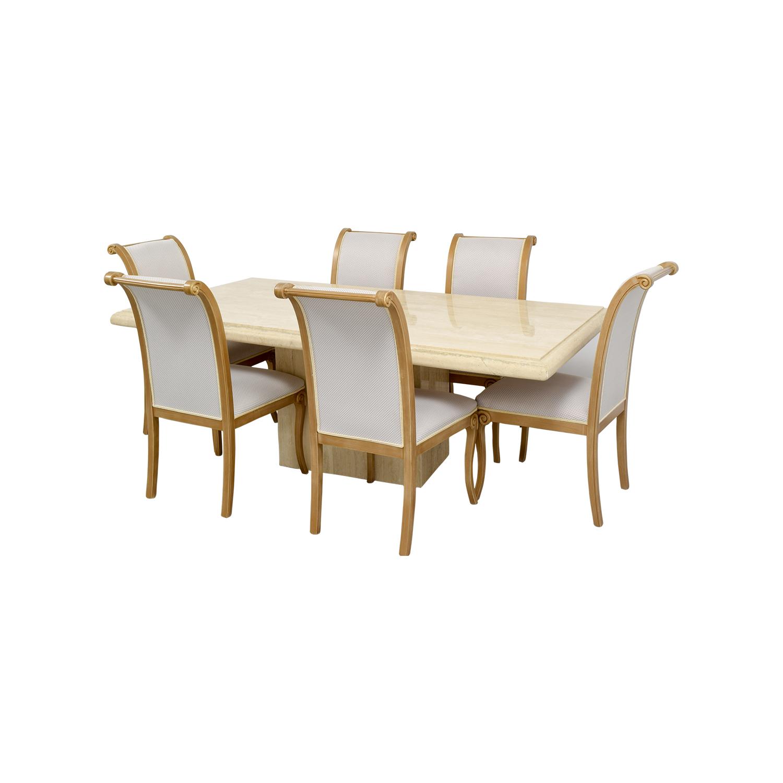 Second Hand Marble Dining Table Choice Image Dining  : used marble dining table with six chairs from sorahana.info size 1500 x 1500 jpeg 480kB