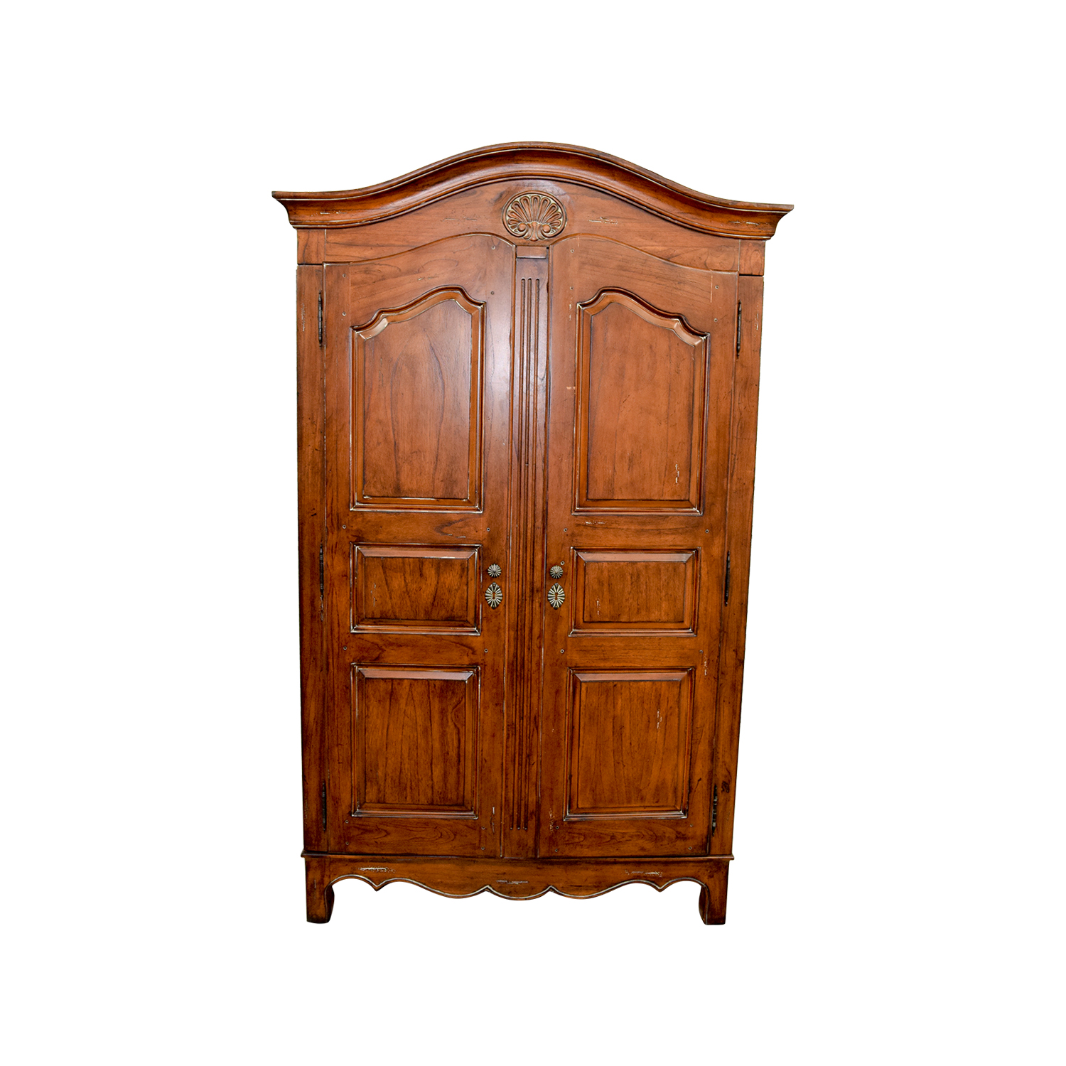 Wood Armoire with Interior Shelves brown
