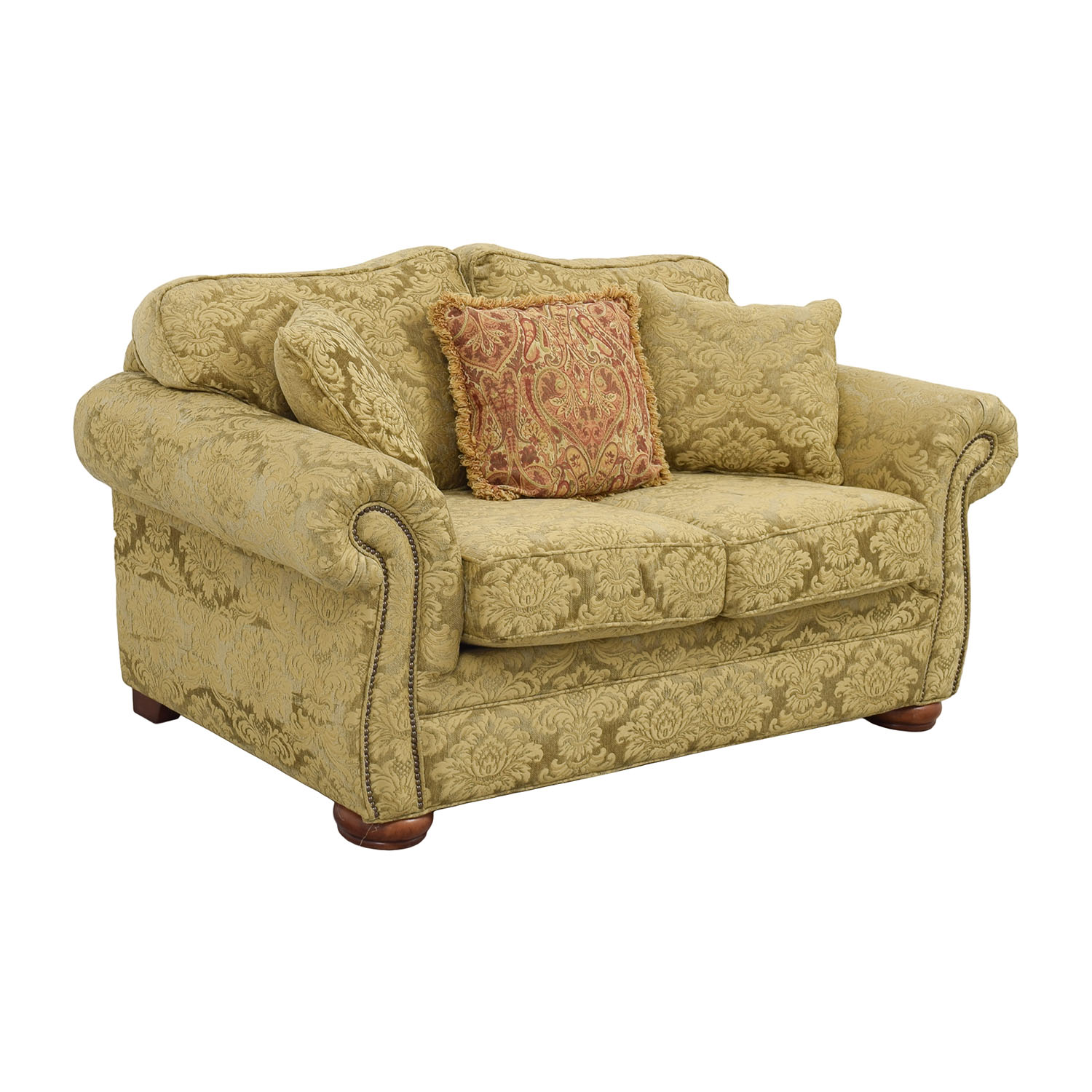 shop Gold Upholstered Loveseat with Toss Pillows Sofas