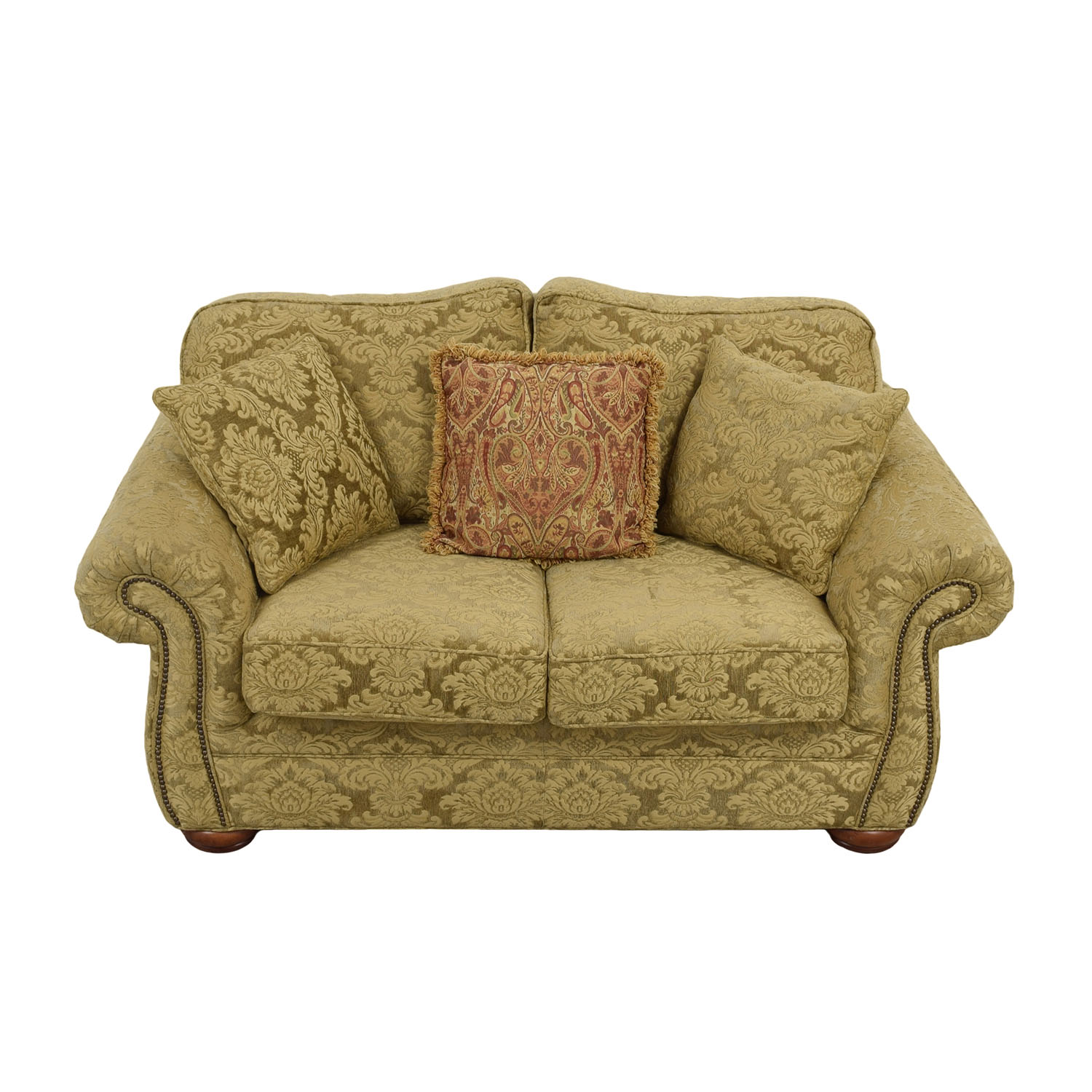 Gold Upholstered Loveseat with Toss Pillows nj