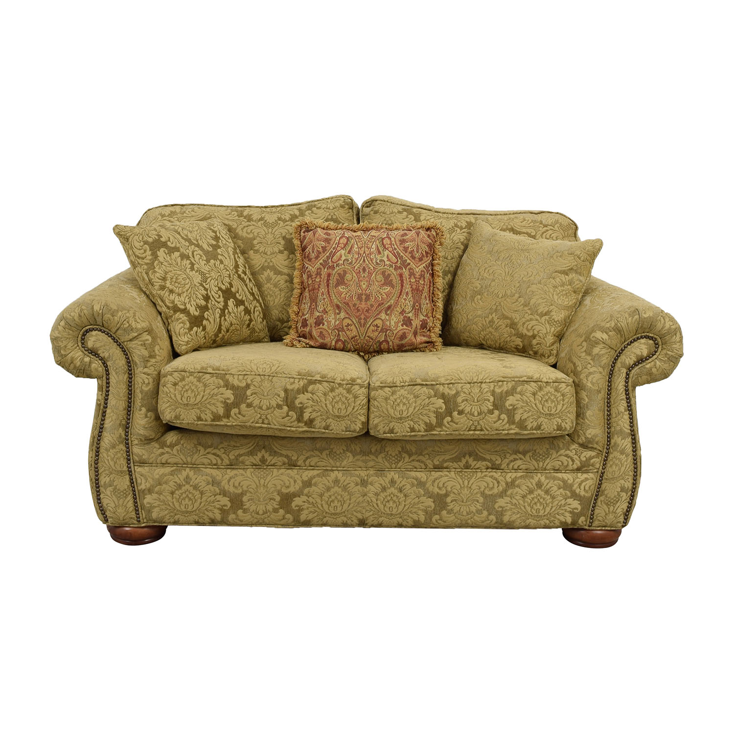Gold Upholstered Loveseat with Toss Pillows discount